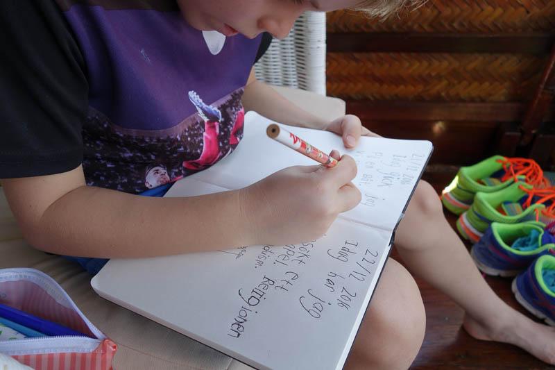Dagboksskrivande för sjuåringen.